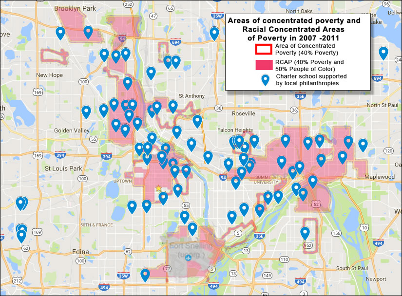 Charter schools started or contributed to by local philanthropies with an overlay map of concentrated racial poverty and concentrated poverty - click for larger version